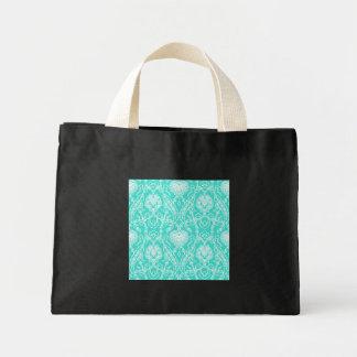 Luxury Turquoise & White Damask Decorative Pattern Mini Tote Bag