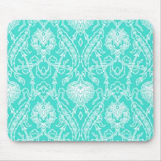 Luxury Turquoise & White Damask Decorative Pattern Mouse Pad