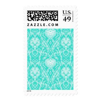 Luxury Turquoise & White Damask Decorative Pattern Stamps
