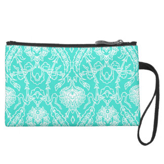 Luxury Turquoise & White Damask Decorative Pattern Suede Wristlet Wallet