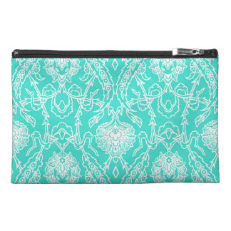Luxury Turquoise & White Damask Decorative Pattern Travel Accessories Bags