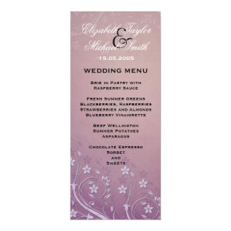 Luxury Vintage Purple Flowers Wedding Menu Card