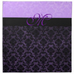 Luxury Violet Damask Monogram Napkins Napkin