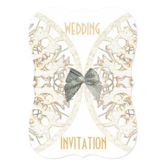 Luxury white lace paper cut damask wedding card