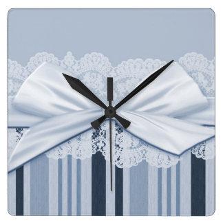 Luxury White Ribbon Blue Lace Clock