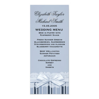 Luxury White Ribbon Blue Lace Menu Card