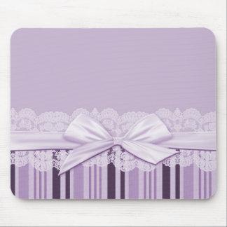 Luxury White Ribbon Violet Lace Mousepad