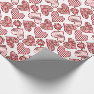 Luxury Wrapping Paper: Hearts and Roses Valentines