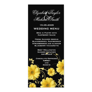 Luxury Yellow Gerbera Swirls Wedding Menu Card