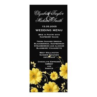 Luxury Yellow Gerbera Swirls Wedding Menu Invites