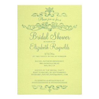 Luxury Yellow & Green Bridal Shower Invitations Announcements