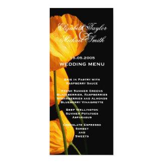 Luxury Yellow Iceland Poppy Wedding Menu Card