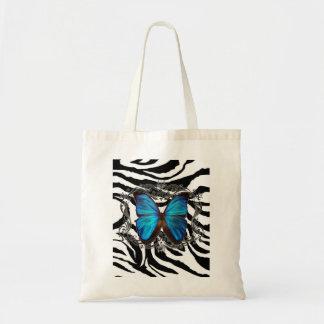 Luxury Zebra print Vintage Butterfly Budget Tote Bag