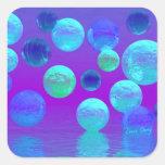 Luz abstracta ciánica y púrpura de la niebla pegatina cuadradas personalizada