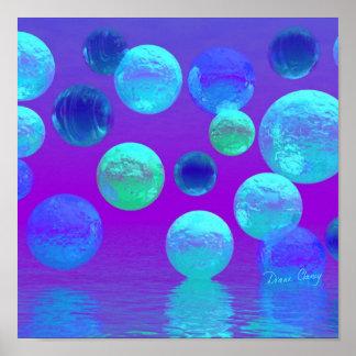 Luz abstracta ciánica y púrpura de la niebla viole póster