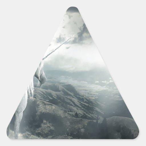 Luz abstracta de los unicornios de la fantasía colcomanias de triangulo personalizadas