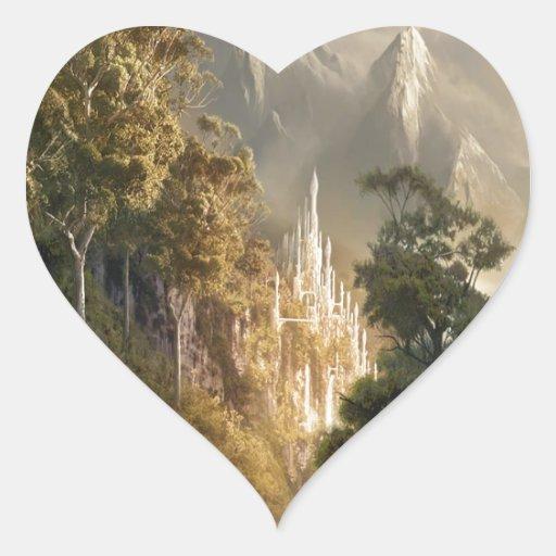 Luz abstracta del reino de la ciudad calcomanías corazones personalizadas