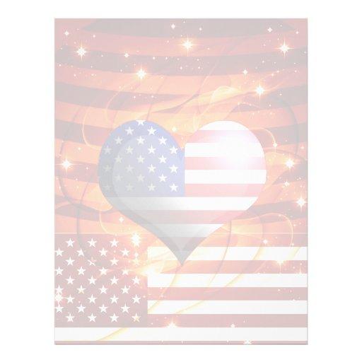 luz americana del diseño del corazón del orgullo flyer personalizado