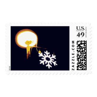 Luz artificial del navidad timbre postal