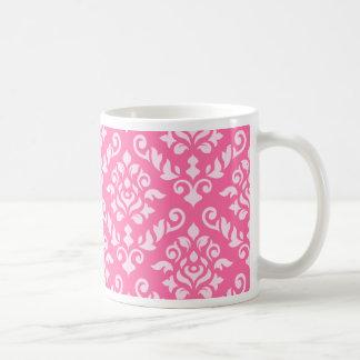 Luz barroca del diseño del damasco en rosa oscuro taza clásica