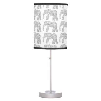 Luz blanco y negro del elefante lámpara de mesilla de noche