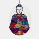 LUZ buena del AMOR de la paz del Buddhism de BUDA Adorno Navideño Ovalado De Cerámica