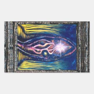 Luz celestial pegatina rectangular