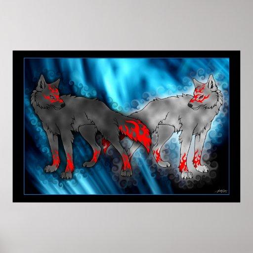 Luz contra el poster oscuro del lobo