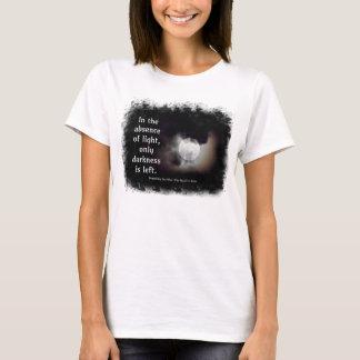 Luz contra la camiseta oscura de la cita