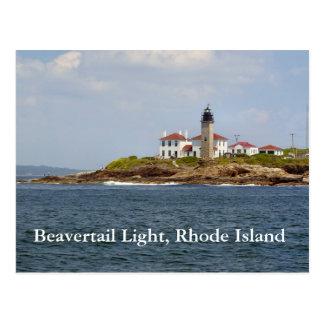 Luz de Beavertail, postal de Rhode Island
