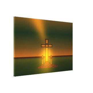 Luz de la aureola de dios sobre la cruz de Cristo Lienzo Envuelto Para Galerias