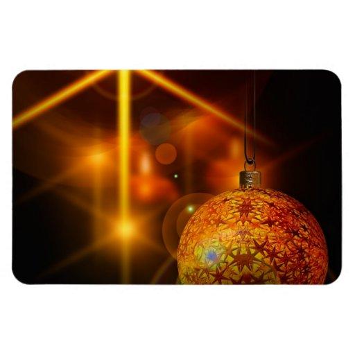 Luz de la chuchería del navidad del oro de la deco iman rectangular