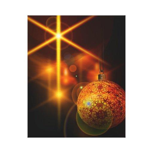 Luz de la chuchería del navidad del oro de la deco impresión en lona estirada