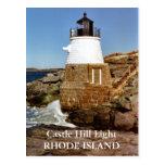 Luz de la colina del castillo, postal de Rhode Isl