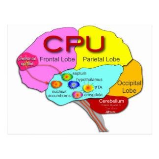 Luz de la CPU del cerebro Tarjetas Postales