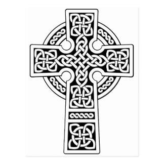 Luz de la cruz céltica blanca y negra postales
