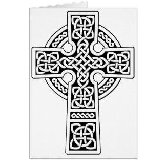 Luz de la cruz céltica blanca y negra tarjeta de felicitación