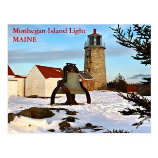 Luz de la isla de Monhegan, postal de Maine