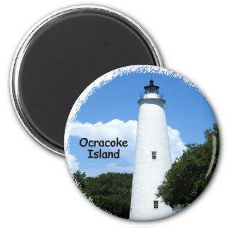 Luz de la isla de Ocracoke Imán Redondo 5 Cm
