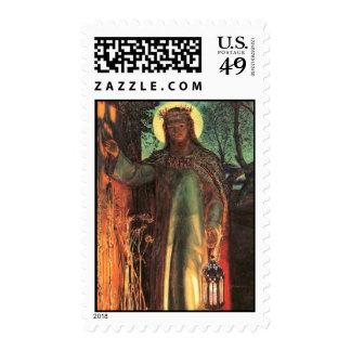 Luz de la pintura del mundo timbre postal