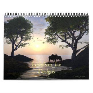 Luz de la puesta del sol, atmósfera del humor, calendarios de pared