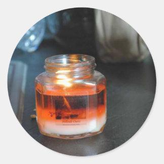 Luz de la vela pegatinas redondas