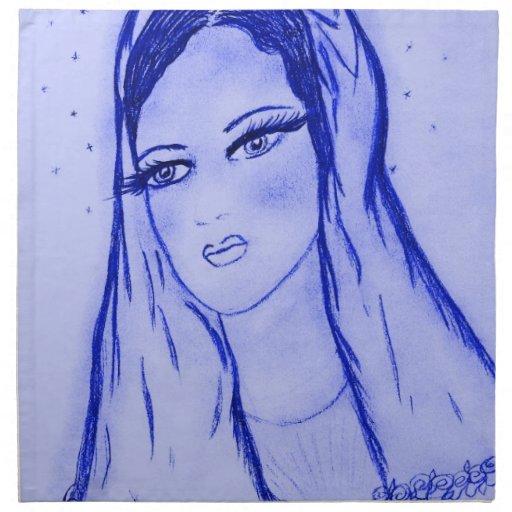Luz de las estrellas Maria en azul Servilletas De Papel