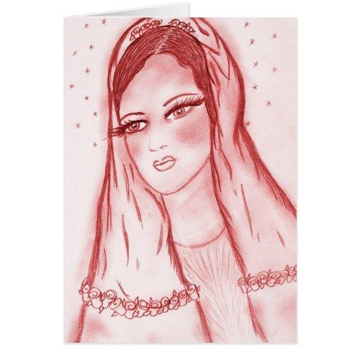 Luz de las estrellas Maria - en rojo Tarjeta De Felicitación