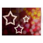 Luz de las estrellas y de navidad tarjeta