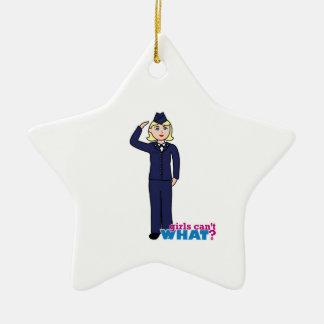 Luz de los azules de vestido de la fuerza aérea adorno navideño de cerámica en forma de estrella
