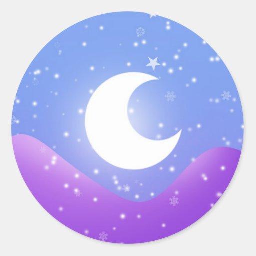 Luz de luna Nevado Pegatinas Redondas
