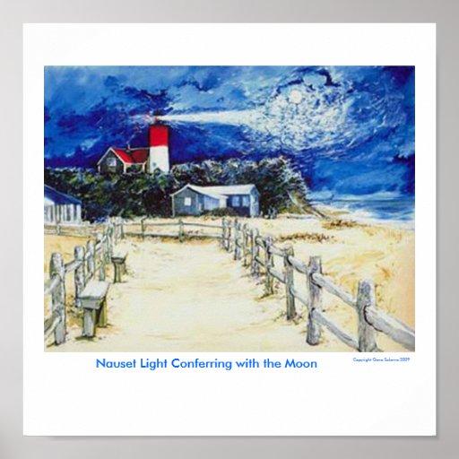 Luz de Nauset que confiere con la luna Posters