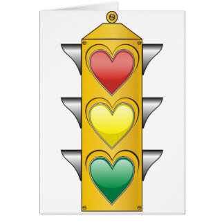 Luz del amor del tráfico tarjeta de felicitación
