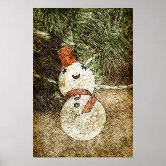 Luz del árbol de navidad del muñeco de nieve del v póster